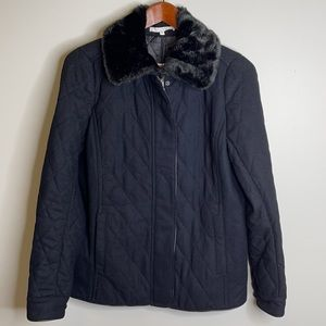 NWT Alfred Sung wool quilted fur leather trim coat